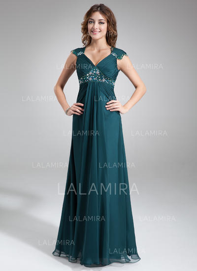 A-Line/Princess Chiffon Flattering V-neck Mother of the Bride Dresses (008211023)