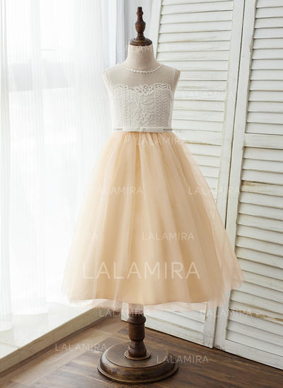 Corte A/Princesa Hasta la tibia Vestidos de Niña Florista - Tul/Encaje Sin mangas Escote redondo con Encaje (010125820)