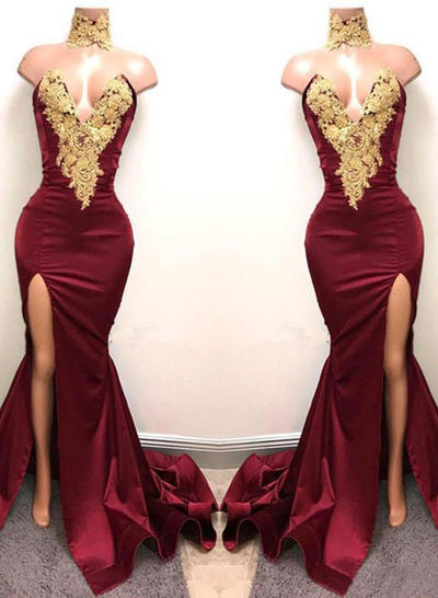 Sweetheart Trumpet/Mermaid Zipper Up Satin Evening Dresses (017213633)