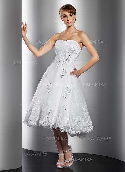Coupe Évasée Amoureux Longueur genou Organza Robe de mariée avec Plissé Brodé Motifs appliqués Dentelle Paillettes (002014769)