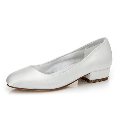 De mujer Satén Tacón ancho Cerrados Salón Zapatos Que Se Pueden Teñir (047088670)