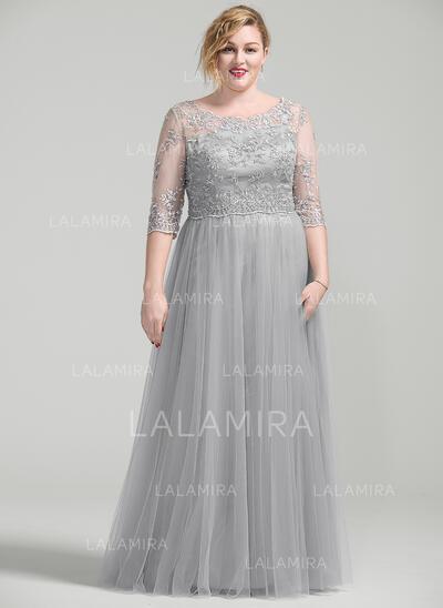 Vestidos princesa/ Formato A Decote redondo Longos Vestido para a mãe da noiva com Beading Apliques de Renda lantejoulas (008077029)