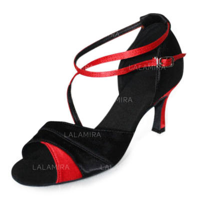 De mujer Danza latina Tacones Sandalias Satén con Tira de tobillo Zapatos de danza (053006990)