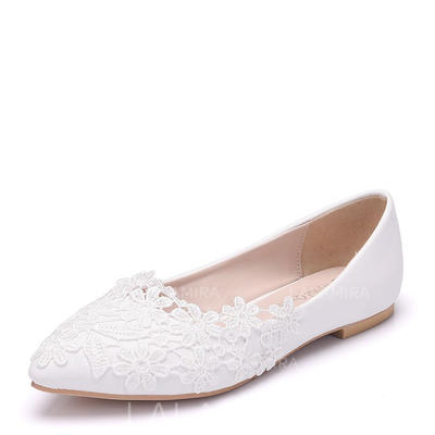 Women's Closed Toe Flats Flat Heel Leatherette With Applique Wedding Shoes (047209798)