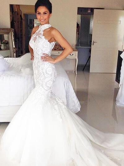 Court Train Trumpet/Mermaid Stunning Tulle Wedding Dresses (002210840)