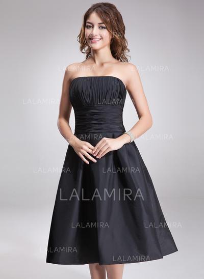 Strapless Knee-Length Taffeta Chic Bridesmaid Dresses (007197274)
