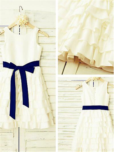 A-Line/Princess Scoop Neck Tea-length With Ruffles Chiffon/Satin Flower Girl Dresses (010212041)