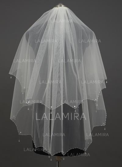 Yema del dedo velos de novia Tul Dos capas Estilo clásico/Ángela con Con abalorios Velos de novia (006034426)