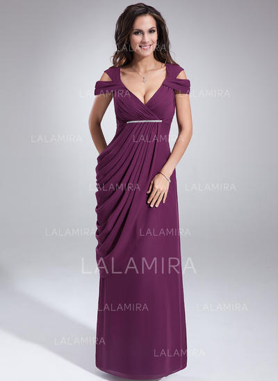 Sheath/Column Chiffon Sleeveless V-neck Floor-Length Zipper Up Mother of the Bride Dresses (008211089)