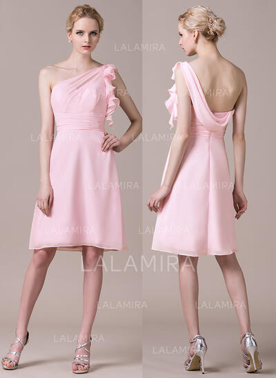 Sheath/Column One-Shoulder Knee-Length Chiffon Bridesmaid Dress With Cascading Ruffles (007059430)
