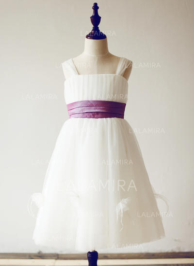 Simple Straps A-Line/Princess Flower Girl Dresses Knee-length Tulle Sleeveless (010210152)