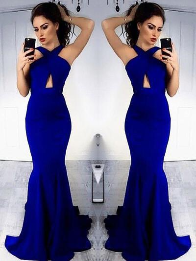 Simple Halter Sheath/Column Sleeveless Satin Evening Dresses (017217186)