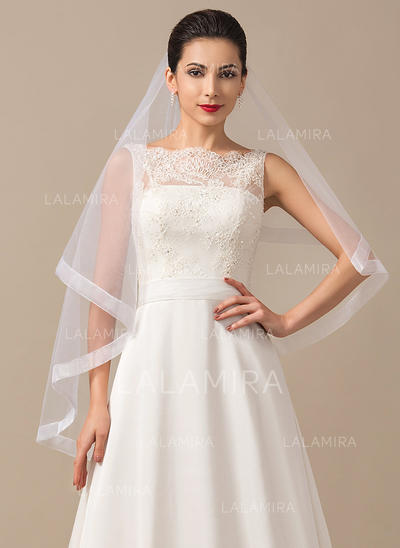 Fingertip Bridal Veils Tulle Two-tier Classic With Ribbon Edge Wedding Veils (006151824)