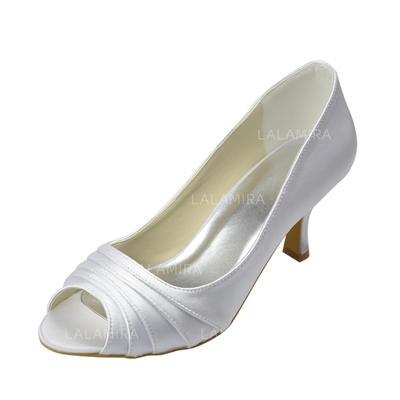 Women's Peep Toe Sandals Low Heel Satin Wedding Shoes (047204850)