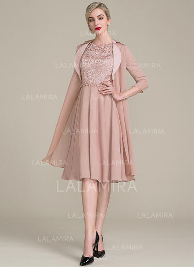 A-Line Scoop Neck Knee-Length Chiffon Lace Mother of the Bride Dress (008107650)