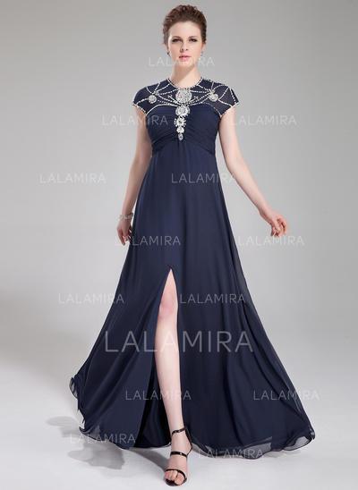 Delicate Scoop Neck A-Line/Princess Chiffon Evening Dresses (017200738)
