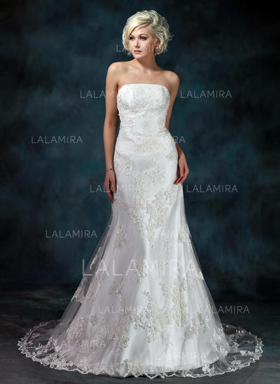 Tulle Sleeveless Trumpet/Mermaid With Chic Wedding Dresses (002000368)