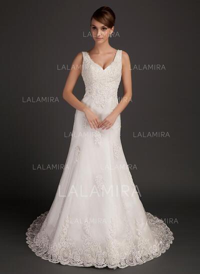 Forme Princesse Col V Traîne mi-longue Tulle Robe de mariée avec Brodé Motifs appliqués Dentelle (002015557)