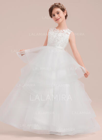 Ball Gown Floor-length Flower Girl Dress - Satin/Tulle/Lace Sleeveless Scoop Neck (010143251)