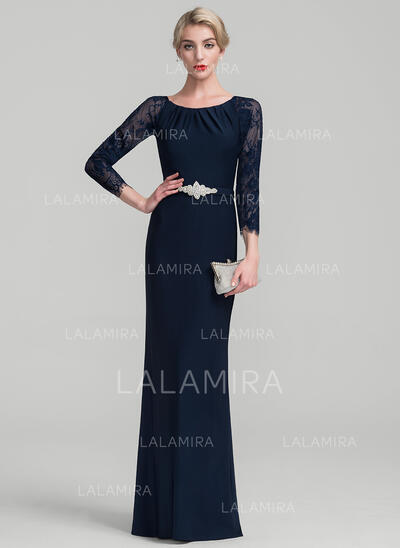 Sheath/Column Scoop Neck Floor-Length Lace Jersey Evening Dress With Beading (017131496)