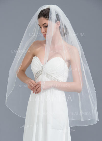 Fingertip Bridal Veils Tulle One-tier Classic With Pencil Edge Wedding Veils (006152127)