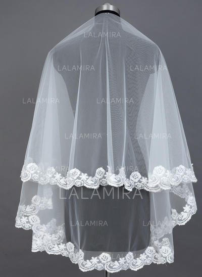 Fingertip Bridal Veils Tulle One-tier Classic With Lace Applique Edge Wedding Veils (006151577)