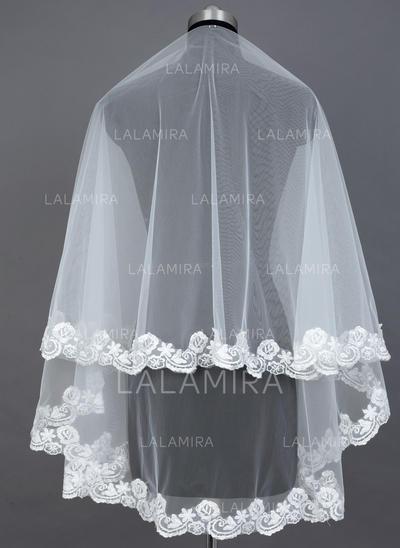 Yema del dedo velos de novia Tul Uno capa Estilo clásico con Con Aplicación de encaje Velos de novia (006039810)
