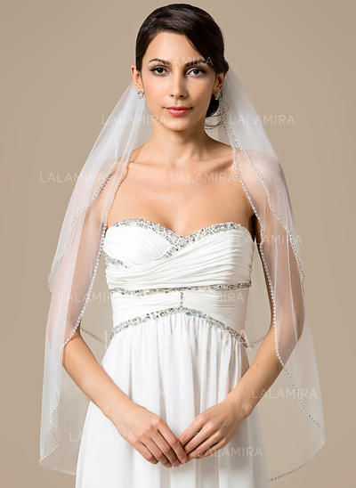 Fingertip Bridal Veils Tulle Two-tier Classic With Beaded Edge Wedding Veils (006151799)
