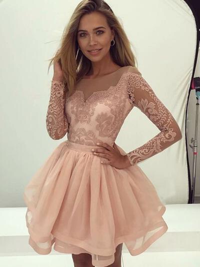 Apliques de Renda Vestidos princesa/ Formato A Curto/Mini Tecido de seda Vestidos de boas vindas (022216295)