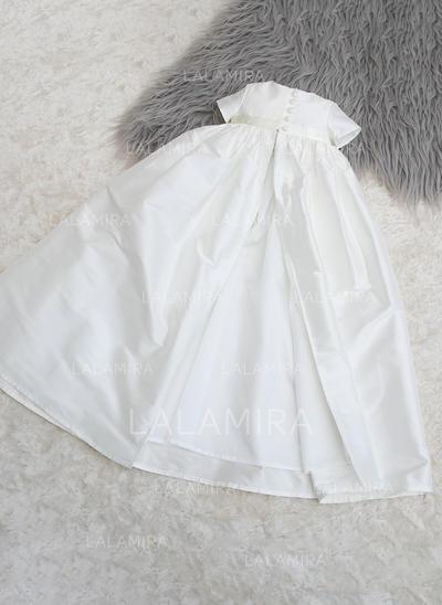 Satiné Col rond Robes de baptême bébé fille avec Manches courtes (2001216813)