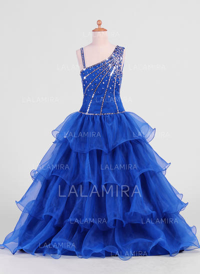 Floor-length Organza Flower Girl Dresses With Ruffles/Beading/Sequins (010007469)