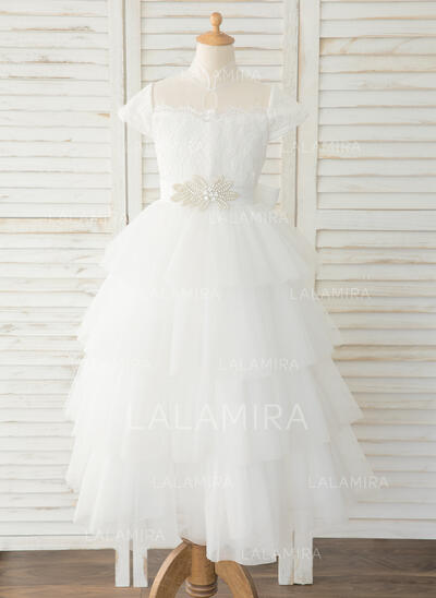 Ball-Gown/Princess Floor-length Flower Girl Dress - Tulle/Lace Short Sleeves Mandarin collar With Rhinestone (010183527)
