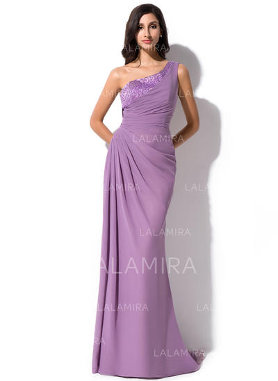 Beautiful Chiffon Sheath/Column Zipper Up at Side Evening Dresses (017052639)