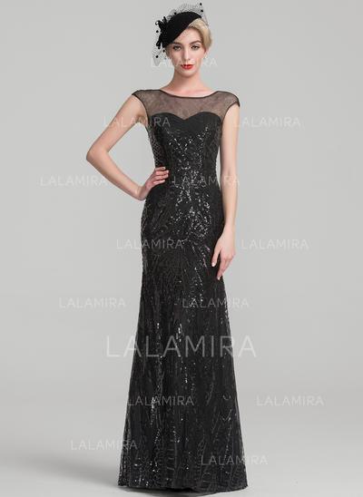 Trompete/Sereia Lantejoulas Sem magas Decote redondo Longos Zipper nas costas Vestidos para a mãe da noiva (008107671)