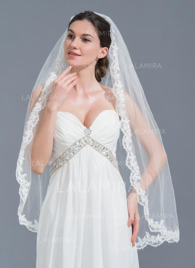 Fingertip Bridal Veils Tulle One-tier Oval With Lace Applique Edge Wedding Veils (006152119)