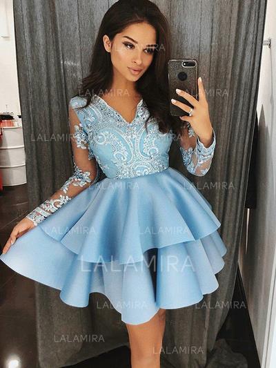 A-Line/Princess V-neck Short/Mini Satin Homecoming Dresses With Appliques Lace (022212436)
