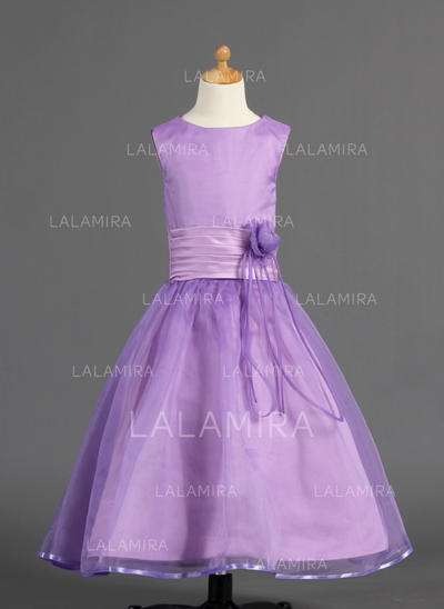 Glamorous Scoop Neck A-Line/Princess Flower Girl Dresses Ankle-length Organza/Charmeuse Sleeveless (010005910)