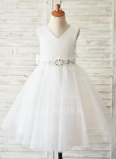 Vestidos princesa/ Formato A Coquetel Vestidos de Menina das Flores - Cetim/Tule Sem magas Decote redondo com Beading/Strass (Faixa desmontável) (010144111)