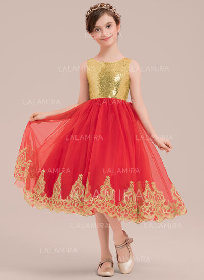 Vestidos princesa/ Formato A Coquetel Vestidos de Menina das Flores - Cetim/Tule/Renda/Lantejoulas Sem magas Decote redondo com Curvado (010143275)