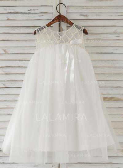 Forme Princesse Longueur genou Robes à Fleurs pour Filles - Tulle Sans manches Col rond avec Brodé (010164731)