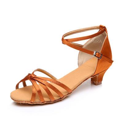 De mujer Danza latina Tacones Sandalias Satén con Tira de tobillo Zapatos de danza (053088017)
