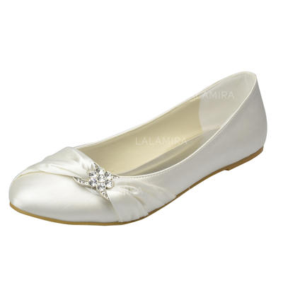 Women's Closed Toe Flats Flat Heel Satin With Rhinestone Wedding Shoes (047205006)