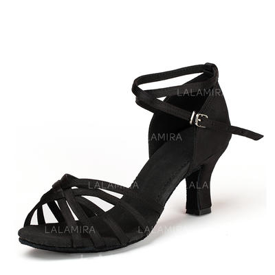 Women's Latin Heels Sandals Satin Dance Shoes (053175942)