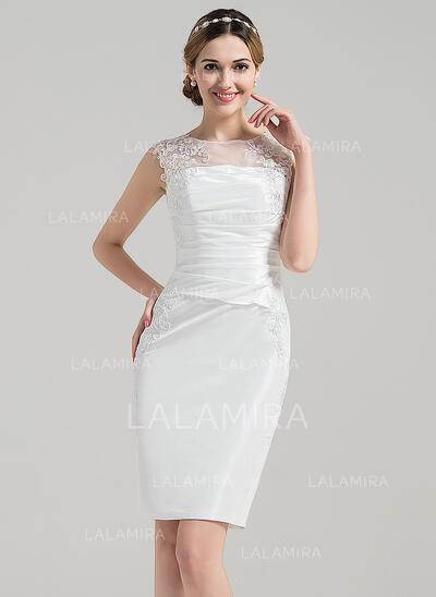 Tubo Ilusão Coquetel Cetim Vestido de noiva com Pregueado Apliques de Renda (002090163)