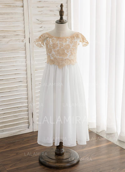 A-Line/Princess Tea-length Flower Girl Dress - Chiffon/Lace Short Sleeves Scoop Neck With Lace/Sash (010148807)