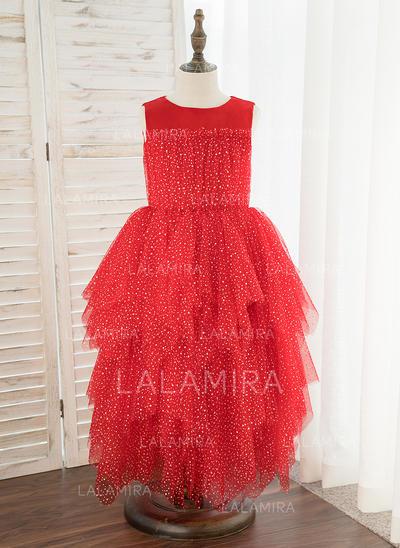 Corte A Comprimento médio Vestidos de Menina das Flores - Cetim/Tule Sem magas Decote redondo (010172380)