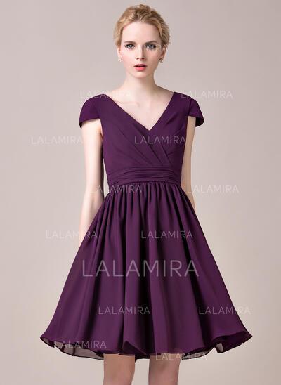A-Line V-neck Knee-Length Chiffon Bridesmaid Dress With Ruffle (007053517)