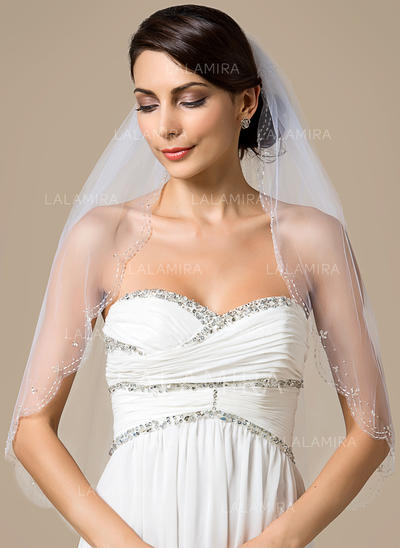 Elbow Bridal Veils Tulle One-tier Classic With Scalloped Edge/Beaded Edge Wedding Veils (006151797)
