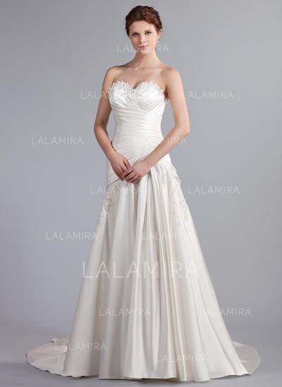 Newest Sleeveless Sweetheart With Satin Wedding Dresses (002210499)