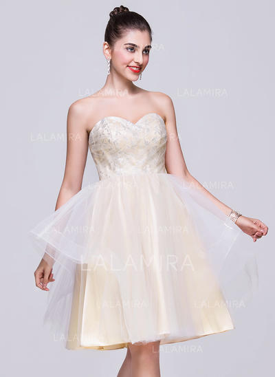 A-Line/Princess Knee-Length Tulle Sweetheart Homecoming Dresses (022068050)